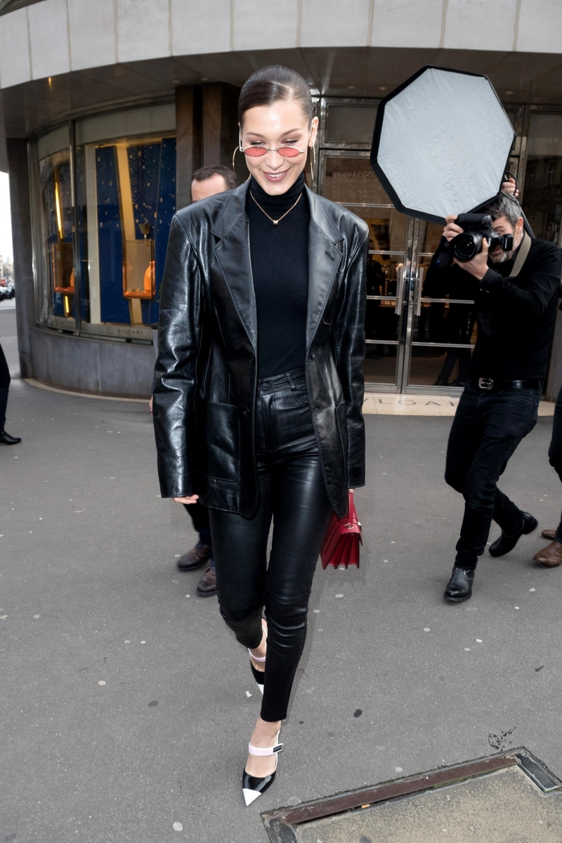 Bella Hadid turns the sidewalk into a catwalk showing off her style leaving the Bulgari store